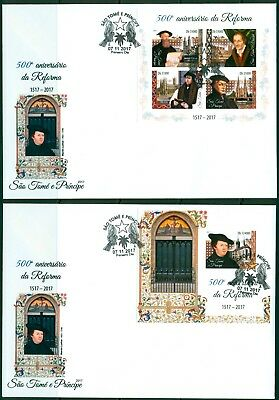 Reformation 500 Martin Luther Protestantism Sao Tome imperforated FDC cover set