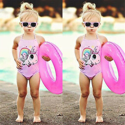 AU Kids Baby Girls Cartoon Unicorn Bikini Swimwear Swimsuit Bathing Suit Summer