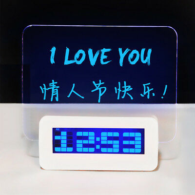 LED Light Fluorescent Message Board Digital USB HUB Alarm Clock Calendar w/ Pen