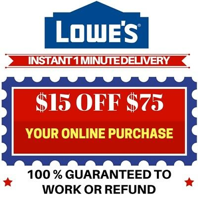One(1x) Lowes $15 off $75- Discount Code Savings exp 01/28/18 (Online Use Only)