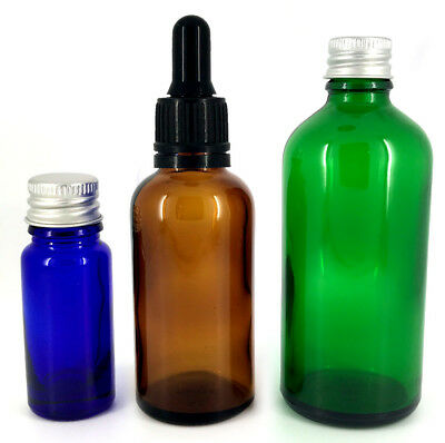 Coloured Glass Bottle Blue Amber Green Dropper Pipette Cap 10ml 30ml 50ml 100ml