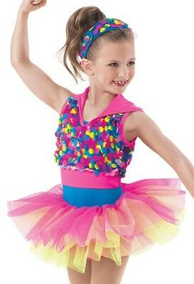 Weissman Dance Costume plus Headband Girls Let's Go Crazy Intermediate Child