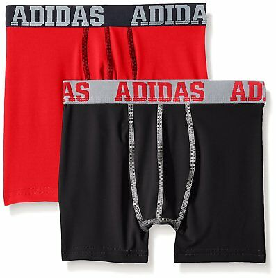 adidas Boys' ClimaLite Boxer Briefs (2 Pack) 10-12 Med
