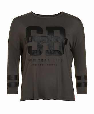New Womens Superdry Factory Second Slouch Sport New York Top Sport Code Khaki