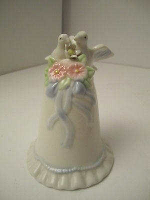 Charming Love Birds Bell with Doves and Flowers