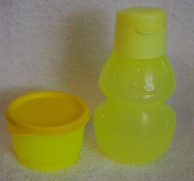 Tupperware Bottle Animal Flip top 350ml and Snack Cup- Yellow Frog 125ml- New