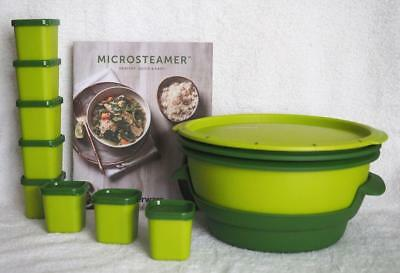 Tupperware MicroSteamer with Ramekins and cook book -- Green .--New