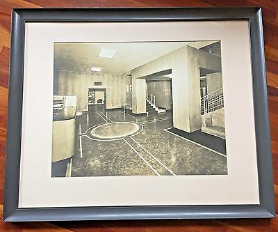 Vintage HUGE Art Deco Architectural Black & White Photo of Office Hotel Lobby