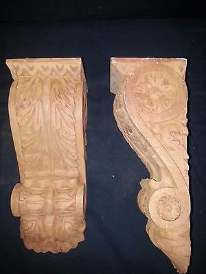 Wooden Hand Carved Scroll Corbels Set of 2