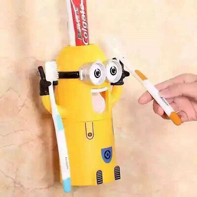Cute Two Eyes Minions Design Wash Set Toothbrush Holder Toothpaste Dispenser