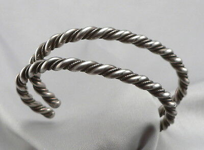 Vintage Pair of SILVER Twisted Wire CUFF BRACELETS 5mm Wide 40.5 Grams Estate