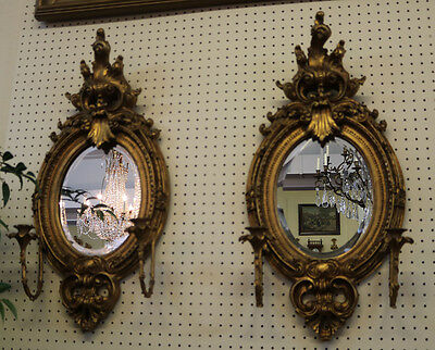 Large Pair French Baroque Gilded Gold Leaf Beveled Mirrors w Candle Holders