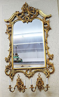 Superb Genuine Gold Leaf Gilded Gold Carved Wood French or Italian Mirror