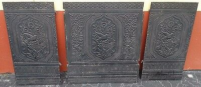 Antique Late 1800's 3 Piece Cast Iron Ornate  Fireplace Insert