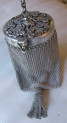 Antique Victorian Art Nouveau Silver T Lilly Mirror Frame Chain Mesh Mail Purse