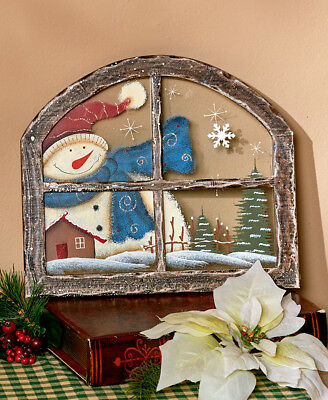 SNOWMAN Rounded PAINTED WINDOW PANE CHRISTMAS WALL HOME DECOR WOOD GLASS C2-8328