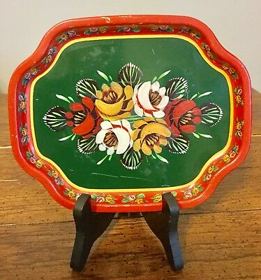 Rare Vintage Hand Tole Painted Tray Red Green Water Gypsy Design Elite England