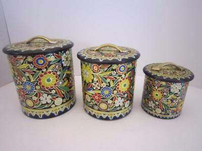 Lot Of 3 Vintage Mid Century Nesting Enameled Tins Made In Holland - Beautiful