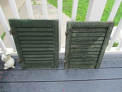 Antique wood shutters painted. Pair/smaller size 22 1/2 x 16 1/4.