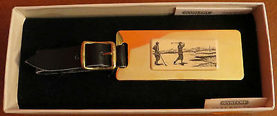 Vintage Barlow Scrimshaw Engraving Golf Golfers Brass Leather Bag Tag Carved