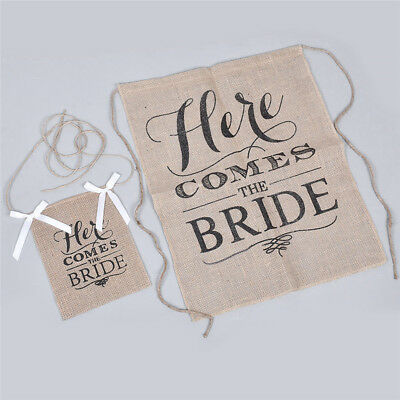 Here Comes The Bride Flags Linen Banner Party Supply Wedding Hanging Decoration
