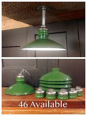 "VTG Green Porcelain Enamel Light Fixture 12"" WIRED Westinghouse Industrial Barn"