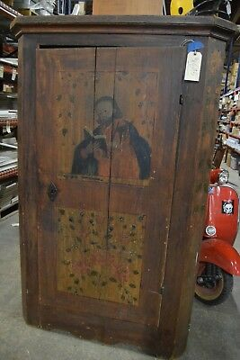 Antique One of a Kind Hand Painted Saint Matthew Cabinet