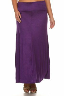 curvaceous's Skirt Solid, full length skirt in a relaxed style  size1X 2X 3X