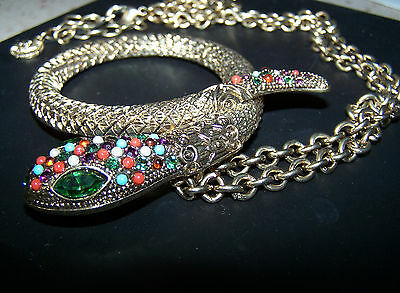 """GRAZIANO Signed Jeweled Large Snake ~ Serpent Statement Necklace Pendant 28"""""""