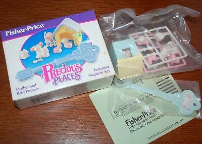 Rare NOS New Fisher Price Precious Places Mother and Baby Puppies Vintage 5244
