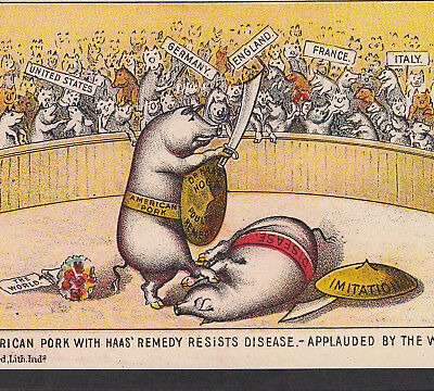 Gladiator Dr Haas Hog Remedy Pig Cure 1800's Victorian Advertising Trade Card