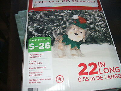 Holiday Time Light Up Fluffy Schnauzer Indoor Outdoor 22: long new in box