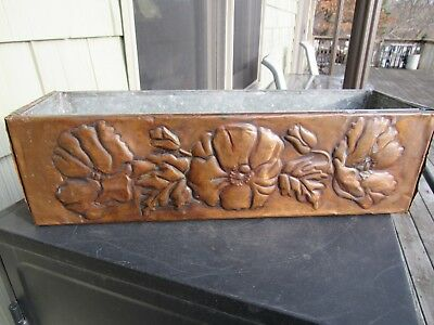 Vintage Original Arts And Crafts / Mission Embossed Copper Planter Box