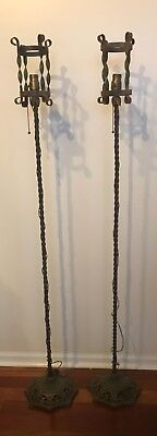 1800's Antique Ornate Victorian Wrought Cast Iron Cylinder Twist Floor Lamp PAIR
