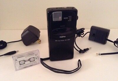 SANYO MINI TALK-BOOK TRC-3680 MiniCassette Recorder -Dictation Machine w/ BUNDLE