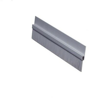 "New Brush Door Bottom Sweep, Clear Anodized Aluminum with 0.625"" Gray Nylon"