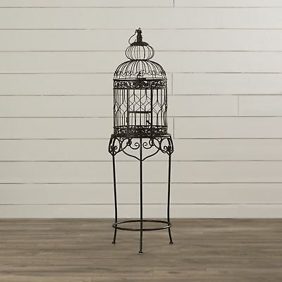 Vintage Decorative Bird Cage w/Stand ~ Detailed Wrought Iron French Accent Decor