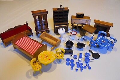 Lot Vintage Wood Metal Ceramic Doll House Furniture Pots Pan Dishes Cups