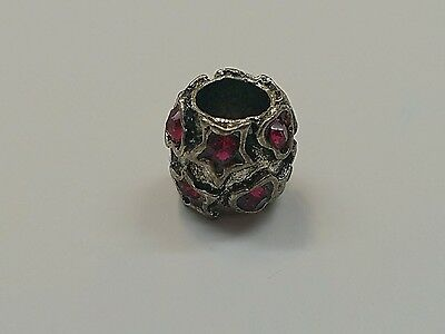 Carved Heart & Star Vintage Antique Silver Zinc Alloy Rhinestone European Bead