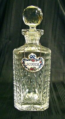 "Vintage Cut Crystal Spirit Decanter Square Bottle 10"" high"