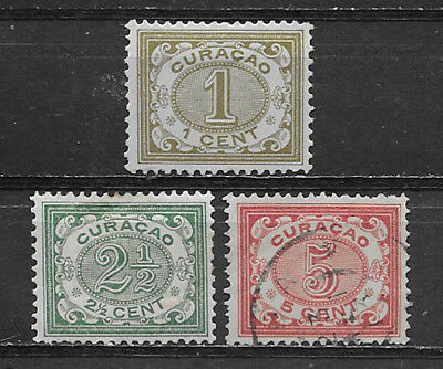 Curacao , Netherlands Antilles , 1904/08 , Set Of 3  , Perf , Vlh/used