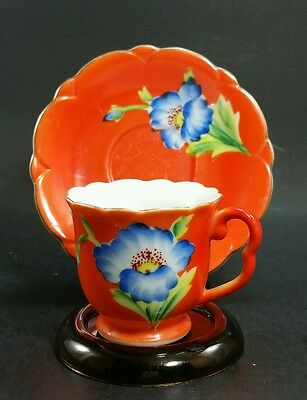 Vintage Hand Painted gold China Demitasse Teacup And Saucer Made Occupied Japan