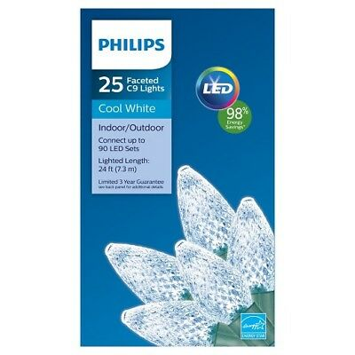 christmas lights cool white philips 24 faceted led 25 ct c9 brand new