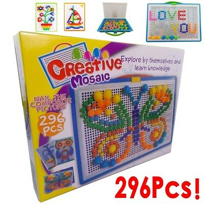 Children Puzzle Peg Board With 296 Pegs Kids Educational Toys Creative UK