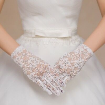 Women's Lace Short Length Gloves Wedding Bridal Gloves Evening Party Prom Gloves