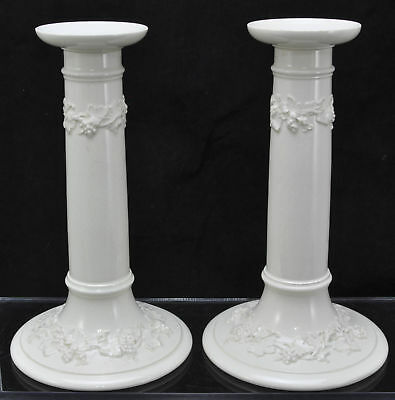 Pair of Antique Wedgwood Queensware Hollow Candlesticks or Lamp Bases