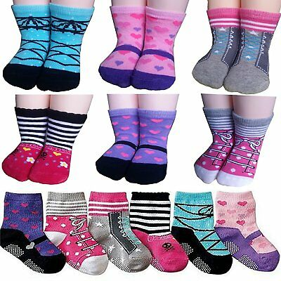 BSLINO Assorted 6 Pairs 12-24 Months Baby Girl Toddler Socks Non-Skid Anti Slip