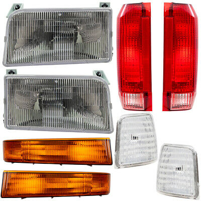 Ford Bronco Pickup Truck 8 Pc Set Headlight Tail Lamp Corner & Side Marker Lamps