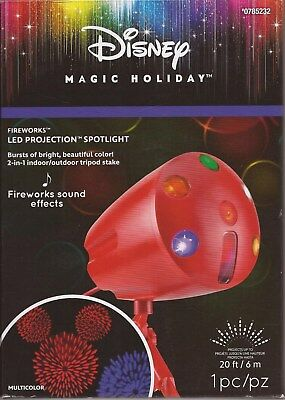 """Disney Magic Holiday """"Fireworks LED Projector Spotlight"""" With Sound Effects-NEW"""