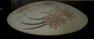 Vintage Ceiling Light Glass Shade Dome Disk Shape Mid Century White Pink Floral